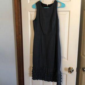 J Crew dark gray dress. Ruffle bottom size 8